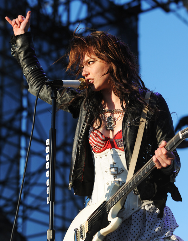 Lzzy Hale, lead singer  of the heavy metal band Halestorm rocks the crowd on the Bangor waterfront during the Avalanche concert on Saturday