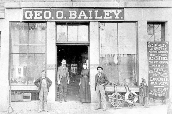 "George O. Bailey's hardware store was located on lower Main Street for many years. Belfast Historical Society president Megan Pinette will give a presentation on ""Downtown Belfast, From the First Store to 1900"" at 7 p.m. April 25, in the Abbott Room of the Belfast Free Library."