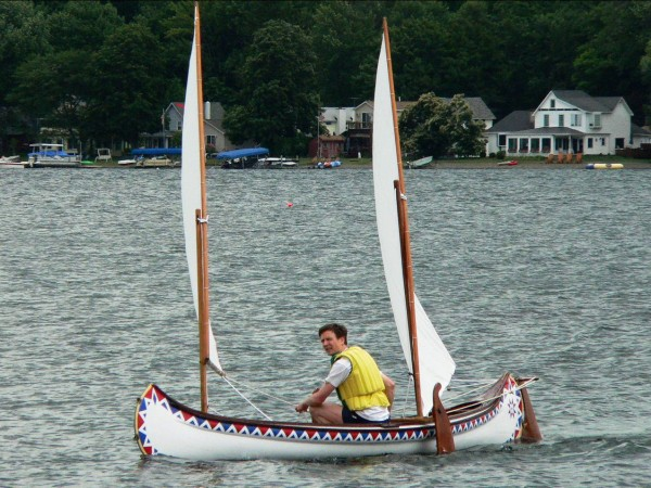 Benson Gray plies the waters in a sailing canoe. He will give a talk about the canoe building history of the Penobscot River valley on Tuesday, April 26, at the Camden Public Library.