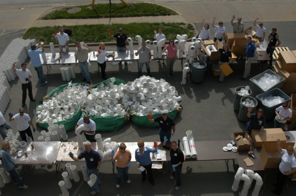 A hive of activity: NOAA, White House and BoatUS staff on their way to building 400 new fishing line recycling bins.