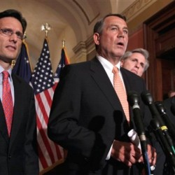House Speaker John Boehner of Ohio, second from left, speaks during a news conference on Capitol Hill in Washington, Tuesday, April 5, 2011. From left are, House Majority Leader Eric Cantor of Va., Boehner, House Majority Whip Kevin McCarthy of Calif., and Rep. Jeb Hensarling, R-Texas.