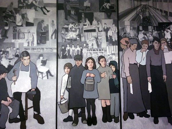 Artist Judy Taylor created a series of panels depicting important times in Maine's labor history, and they had been on display at the Maine Department of Labor offices in Augusta since 2008.  Panel 2: (center) Lost Childhood shows how child labor was common in Maine.