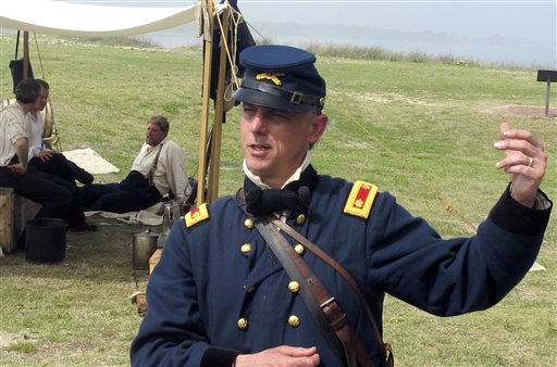 Re-enactor Mark Silas Tackitt of Seattle appears as Maj. Robert Anderson the commander of Fort Sumter.
