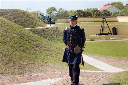 Mark Silas Tackitt, of Seattle, strolls the grounds at Fort Moultrie on Sullivans Island, S.C., on Friday, April 8, 2011.