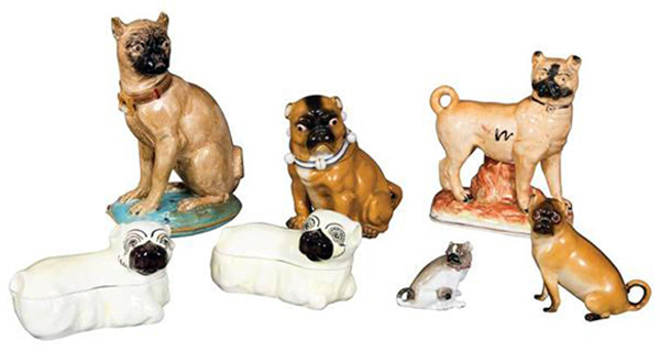 The ceramic pug boxes and figures from the estate of Lena Horne sold for $1,250 recently at Doyle New York.