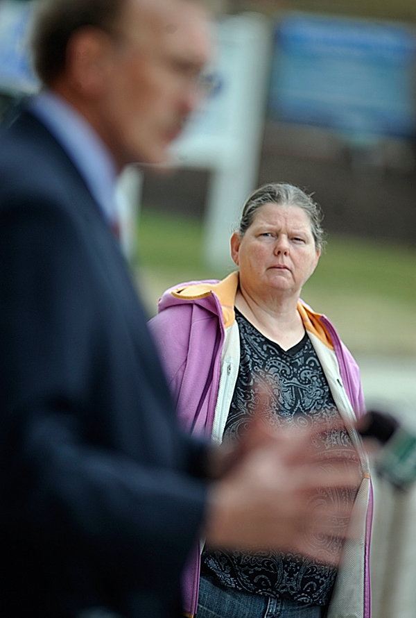 Newburgh resident Cindy Prescott listens to Cindy Dunton's attorney Dale Thistle address the media outside after Dunton made her guilty plea at Penobscot Judicial Center Monday afternoon. &quotShe wanted to look like she's doing everything she can and I don't believe she is yet,&quot said Prescott of Dunton.