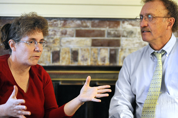 Cindy Dunton (left), and her attorney Dale Thistle talked with the Bangor Daily News at Thistle's law office in Newport Tuesday afternoon.