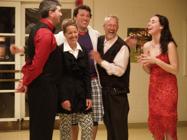 "Members of the cast of the Everyman Repertory Theatre's production of ""The Miser"" crack up during rehearsal."