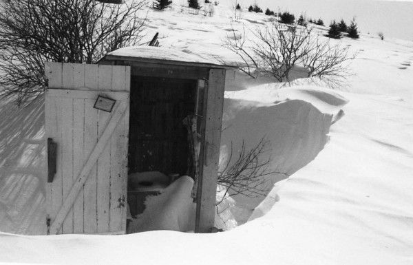 Our outhouse had a lovely window and a door that opened onto a view of Madawaska Lake and the hills surrounding it.