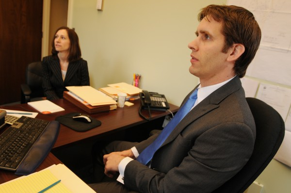 Attorneys Nick Loukes and Mikaela Wentworth are two of Bangor's newest lawyers. Both work at the law firm of Rudman and Winchell. Photographed on Wednesday, April 20, 2011.