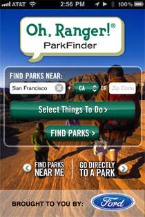 Oh, Ranger! ParkFinder™, a new free app from American Park Network, is the centerpiece of an integrated program that re-establishes Ford Motor Company as a Platinum Partner of Tread Lightly!.