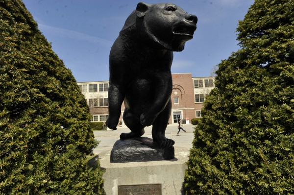 This life-size bronze black bear mascot graces the outside of Memorial Gym at the University of Maine in Orono. When University of Maine President Robert Kennedy tapped one of his discretionary funds to buy out Cindy Blodgett's contract, it was somewhat reminiscent of a previous university president using those funds during the departure of another women's basketball coach more than 20 years ago.