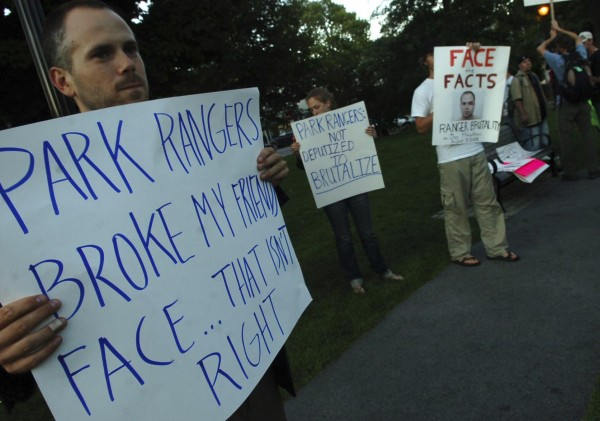 Tim Rich of Bar Harbor was among those gathered on the town's village green to support his friend Tim Wild, who suffered injuries after an altercation with Acadia Park rangers in August 2008.The park has been ordered by a federal judge to release documents as a result of a Freedom of Information Act lawsuit brought by Wild.