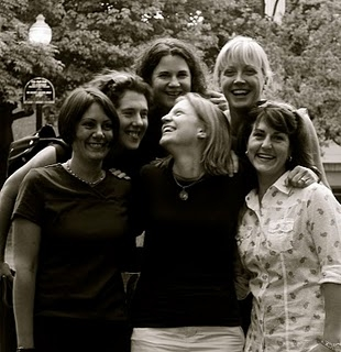 "Suzanne Carver (front and center) laughs as she is surrounded by her ""Sole Sisters"" Jennifer McGoldrick (from left), Amy Sidell, Susan Thibedeau, Emilie Manhart and Christine Lally Kendall in 2010. The informal running group of Bangor area mothers call themselves the ""Sole Sisters."""