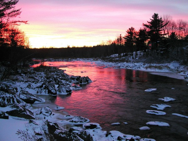 A sunset over the Union River in Ellsworth is seen in December 2004. In a report released Wednesday, the Institute for Economics and Peace says Maine is the most peaceful state, while Louisiana is the least peaceful.