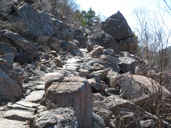 This large 12-14 foot boulder is a prominent feature along the Beachcroft Trail in Acadia National Park.