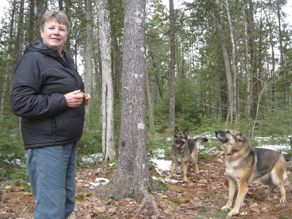 Jennifer Fisk plays with her two rescue dogs Fran, left, and Freya. They are certified rescue dogs with Maine Search and Rescue Dogs, a volunteer organization that conducts wilderness searches for the Maine Warden Service in Maine.