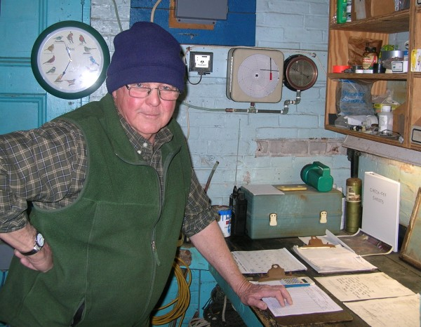 Roger Stone, superintendent at the Stonington Water Company, stands in front of one of the gauges he checks to monitor the amount of water pumped through the system. An unexplained problem last year saw as much as 600,000 gallons a month disappearing from the system.That problem has since resolved itself.