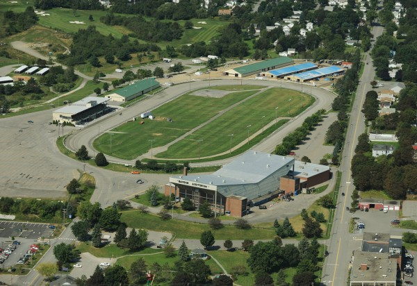 Bangor Auditorium, Bass Park and horse barns. Aerial Image made on Friday, Septermber 4, 2009.