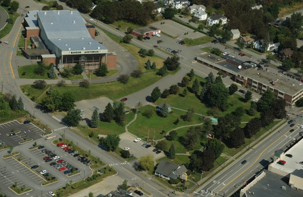 Bangor Auditorium and Bass Park. Aerial Image made on Friday, Septermber 4, 2009.