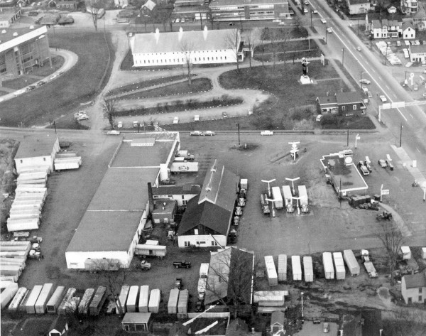 A photograph from the late 1950s shows a corner of the new Bangor Auditorium (upper left).