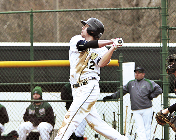 Photo Courtesy of Matt Kohashi/Gallaudet University Billy Bissell of Gallaudet University watches the flight of the ball during an at-bat in a game earlier this season. The Brewer High School product has overcome two knee injuries to become a star player for the Bison.