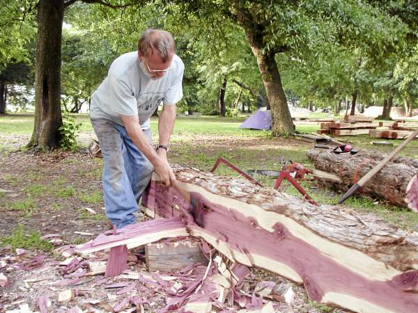 Mike Beaudry of Montville hews an Eastern Red Cedar for the reproduction of a settlement cabin in Charleston, S.C.