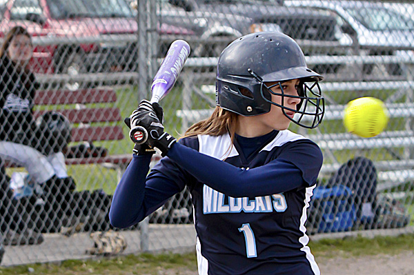 Alecia Palmer of the Presque Isle High School softball team watches a high pitch sail past during Wednesday afternoon's game in Houlton against the Shiretowners. The Wildcats won 10-5.