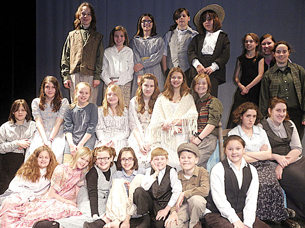 "Taking part in a production of ""The Orphan Train,"" a musical, set for Friday and Saturday, May 13-14 are (top row, from left) Miles Martin, Karigen Coffin, Cassi McKay, Madison Philbrick, Sophie Noonyenooneam, Jade Hanson, Marion Nickerson, Alicen Brooks; (middle row)  Mackenzie Philbrick, Hannah Valliere, Emma Reynolds, Morgan Hutcheson, Heidi Ploszaj, Jazmine Robbins, Brooklyn Alberts, Jessica Ploszaj; (front row)  Makala Coyne, Mikaela Ally, Kaylee Knowles, Grace O'Brien, Holden Clapp, Cole DuBois, Hannah  Nadeau and Brianna Housman. Paige Ireland, Vicky Wilbur, Lindsay Ward, Alivia Cross and Naya Krienke also are part of the production, but are not pictured here."