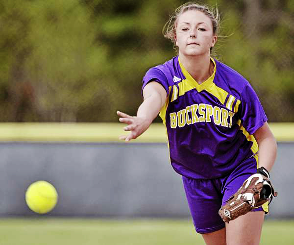 Bucksport's Abby Yeo delivers a pitch in the second inning against Hermon in Bucksport Thursday, May 12, 2011.