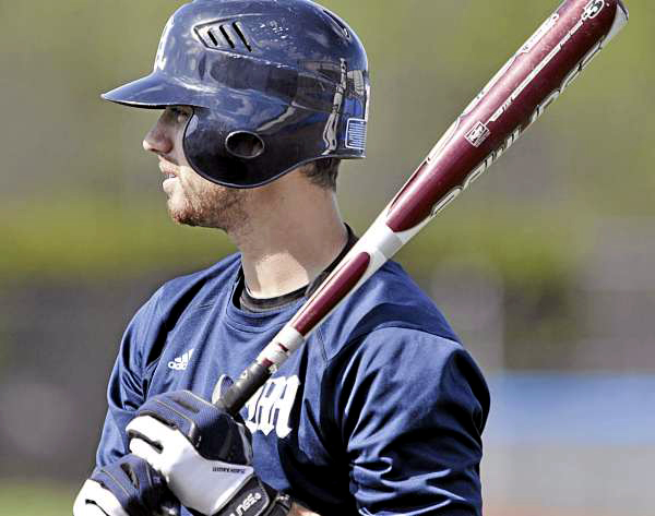 UMaine baseball's Joey Martin waits for an at-bat at practice Thursday in Orono.