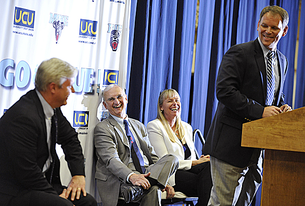 New University of Maine women's basketball coach Richard Barron laughs with UM Athletic Director Steve Abbott (left), UM President Robert Kennedy (center) and UM Hall of Fame basketball player Emily Ellis during Tuesday's press conference introducing Barron at Memorial Gym in Orono. Serving on the search committee gave Ellis the opportunity to  help revive the relationship between former Black Bear players and the UM athletic department.