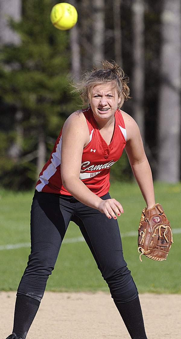 Shortstop Amy Haynes of Camden Hills throws to first base during fourth-inning high school softball action in Rockport Friday against Nokomis of Newport. Camden Hills won 10-0.