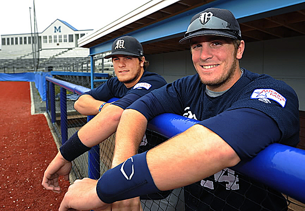 UMaine baseball players Justin Leisenheimer, right, and his twin brother Ian have combined to be hit by a pitch 77 times during the past four seasons.