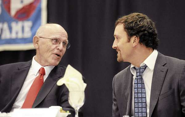 Harold Violette (left) and Seth Wescott talk during the banquet for the 36th annual Maine Sports Hall of Fame induction ceremony Sunday at the Augusta Civic Center.