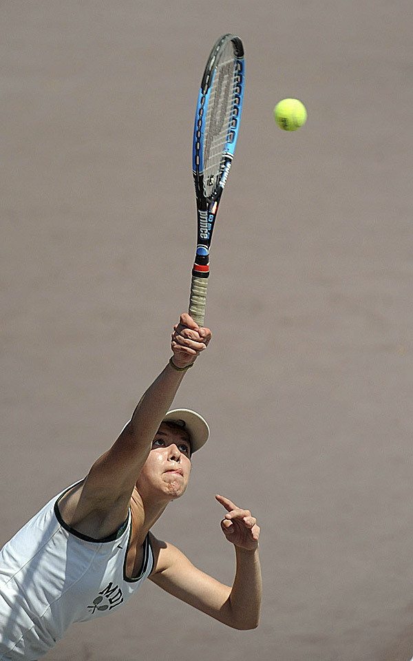 MDI's Mea Clark during her state singles quarterfinal match against Maria Varano of Kennebunk at Bates College in Lewiston Tuesday afternoon. Varano won 6-1, 6-2.