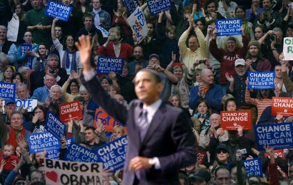 Democratic presidential hopeful Sen. Barack Obama waves to the crowd of about 5,700 people at the end of his campaign rally at the Bangor Auditorium in 2008.
