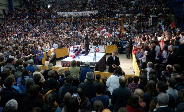 Democratic Presidential hopeful Sen. Barack Obama speaks before a crowd of 7,000 people at the Bangor Auditorium in 2008.