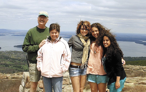 Kris Clark (from left), Kathy Clark, Bekah Clark, Zuzie from Slovakia, and Rema, on a family hike.