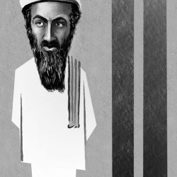 This artwork by M. Ryder relates to Osama bin Laden.