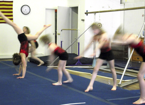 Girls take turns practicing tumbling at All Star Gymnastics in Mars Hill. Allison Wheeler started All Star Gymnastics in 2008 and now operates a full-time gym in Mars Hill. As the clientele has grown, so have the classes Wheeler has offered. Her classes now include gymnastics, dance, Irish step dancing and boys acrobatics. She also is helping to field an elite college cheering team. Her athletes come from Sherman to the St. John Valley to attend classes.