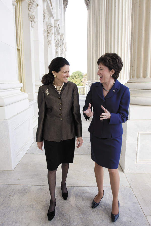 Maine's Republican Senators, Olympia Snowe (left), and Susan Collins walk on Capitol Hill in Washington in Oct. 2009.
