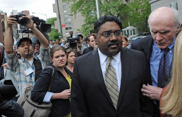 Billionaire co-founder of Galleon Group Raj Rajaratnam exits Manhattan federal court on Wednesday in New York.