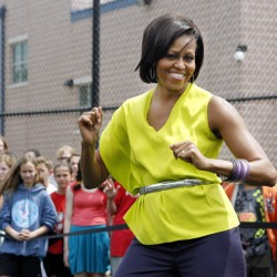 Michelle Obama receives New Balance sneakers, touts education, health care at Maine fundraisers