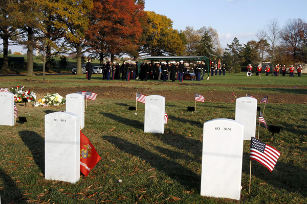 The burial service for Marine 1st Lt. James R. Zimmerman, 25, of Maine, who was killed while serving in Afghanistan, takes place at Arlington National Cemetery in Arlington, Va., in Nov.2010.