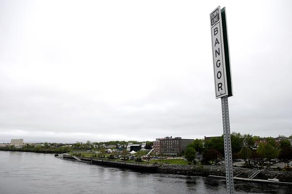 A view from Joshua Chamberlain Bridge of Bangor's waterfront.
