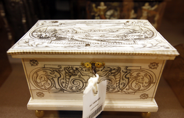 A box with nautical engraving is seen on display at the MAS Museum in Antwerp, Belgium.