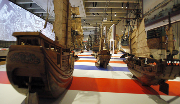 Models of ships are seen on display at the MAS Museum in Antwerp, Belgium.