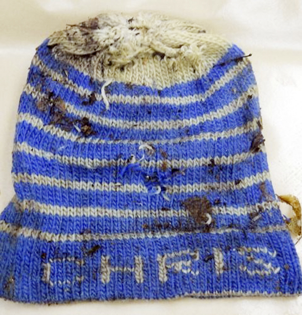This hat was among the clothing found on a body discovered in Stacyville.
