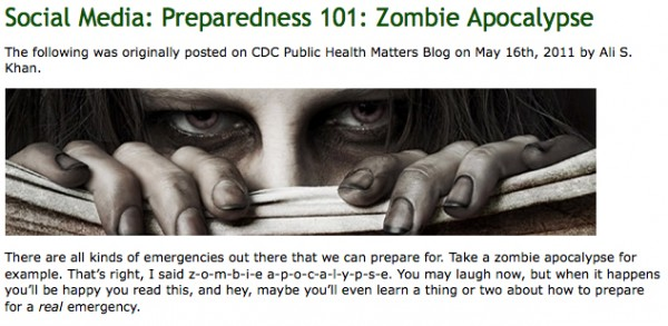 A screen grab from the CDC's Emergency Preparedness and Response social media blog is shown.